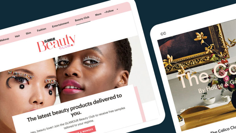 Glamour Beauty Club and The Calico Club websites on iPads